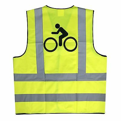 Adult Yellow Hi Vis Reflective Velcro Cycling / Horse Riding Safety Vest - Bike