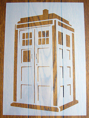 TARDIS Police Box Stencil Reusable Mylar Sheet for Arts & Crafts, DIY