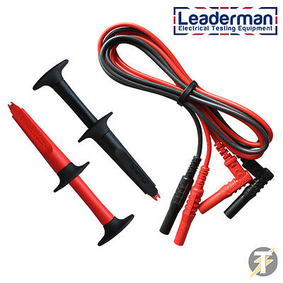 Red & Black Electricians Test Leads with Retractable Crocodile Clips LDM204-220