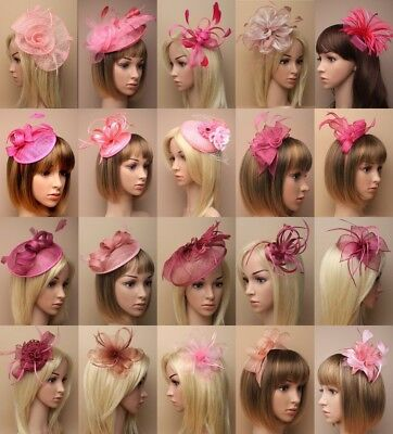 Pink Fascinator Wedding Races Prom Ascot Occasion Hat  Headpiece Clip Band