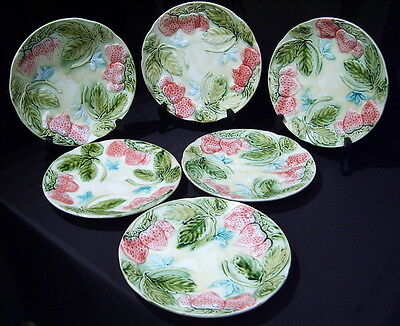Vintage Majolica Barbotine 6 Plates Assiette Fraise Strawberry Onnaing France