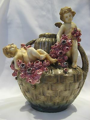 Vintage Ancien  2 Anges Putti Vase Ceramic Ceramique Amphora Austria Imperial