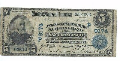 1902 Anglo & London Paris National Bank San Francisco $5 National Note Date Back