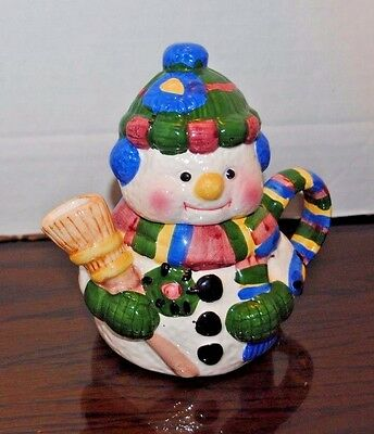 Small colorful Frosty the Snowman  teapot with spout and lid