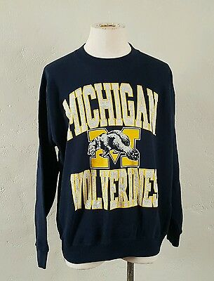 VTG 80s Michigan Wolverines ~ Navy Blue Sweatshirt ~ USA Made ~ XL Oversized