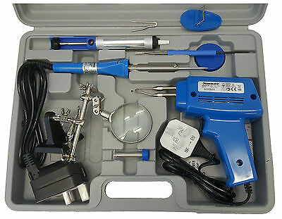 Electrical Soldering Kit Set 100W Gun Solder Stand Tool & 30W Iron & Case