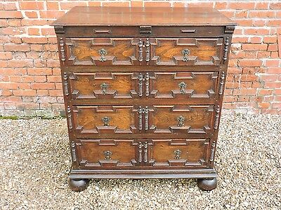 17thC Charles II Period English Antique Oak Geometric Chest of Drawers, C.1680