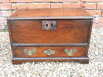 Exceedingly Small 18thC Welsh Antique Oak Coffer Bach Made for a Child Chest