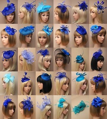 Royal Blue Fascinator Wedding Cobalt Turquoise Races Prom Ascot Occasion Lot