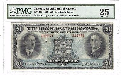 1927 Royal Bank of Canada $20 Dollar Note Montreal, Quebec  PMG VF25