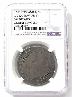 1551 Great Britain England 1/2 Half Crown  *NGC VG Details*  S-2479; Edward VI