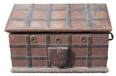 Mid 18thC English Antique Oak Iron Bound Box Strong Box Bible Box, C.1751 Chest