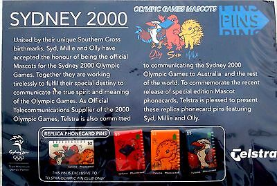 Sydney Olympic Games 2000 Telstra Phone Card Pins Set 4 Mascots Supporter Badge