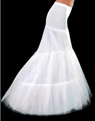 New White Mermaid 2-Hoops Wedding Dress Petticoat / Crinoline / Skirt Slip