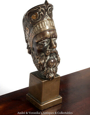 Antique Bronze Greco Roman God ZEUS Bust / Vesta Taper Holder / Pen Pot / Statue
