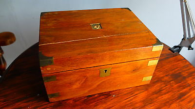 Victorian Antique writing slope with secret compartment Brass Wood Old Box Ink