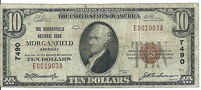1929 Morganfield National Bank MORGANFIELD, KY $10 National Note; Ty 1; #7490