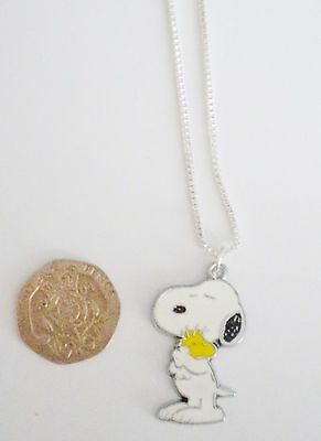 Snoopy The Dog & Woodstock The Bird Enamel Pendant 925 Sterling Silver Necklace