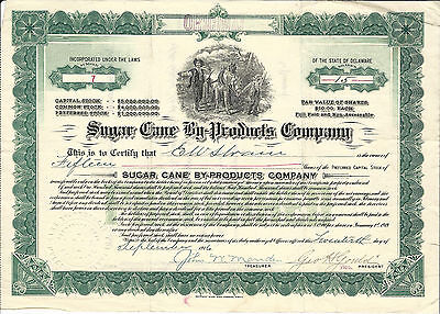 PENNSYLVANIA Sugar Cane By-Products Co Stock Certificate 1916 #7