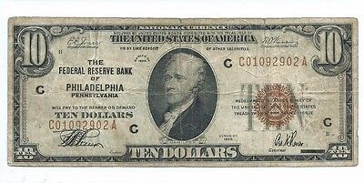 1929 Federal Reserve Bank PHILADELPHIA $10 National Currency Note