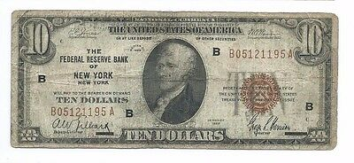 1929 Federal Reserve Bank NEW YORK $10 National Currency Note