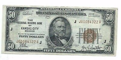 1929 Federal Reserve Bank KANSAS CITY $50 National Currency Note Crisp w/ crease