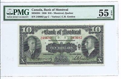 1938 Canada Bank of Montreal $10 Note; PMG AU55 EPQ Exceptional Paper Quality
