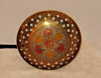 Vintage Hand Painted Bowl Dish Flowers Brass Bowl  Made in India