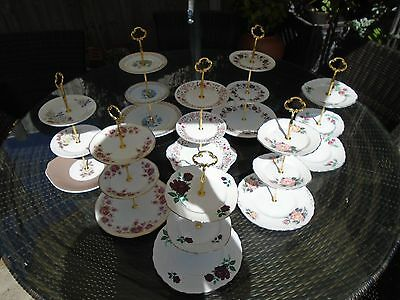 Vintage Job Lot Of 8 Three Tiered Cakestands For A Wedding/teaset/teapot/cups