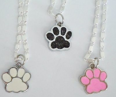New Girl's/ladies Enamel Dog/cat/animal Paw 925 Sterling Silver Pendant Necklace