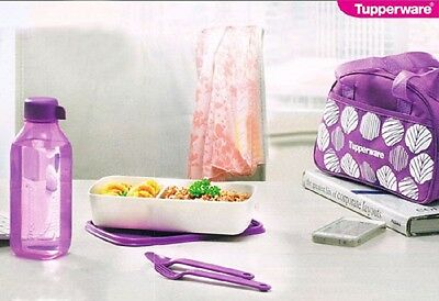 Tupperware Purple Delight Lunch Box Set Eco Bottle Cutlery Bag Lunch Box
