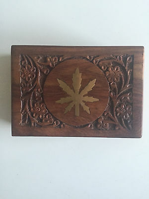 Carved Wooden Box With Cannabis Leaf Design