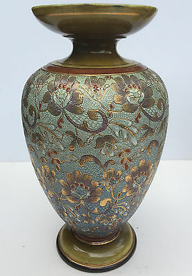 Beautiful Pair Of Gold Gilt Turquoise Shagreen Decorated Doulton Lambeth Vases