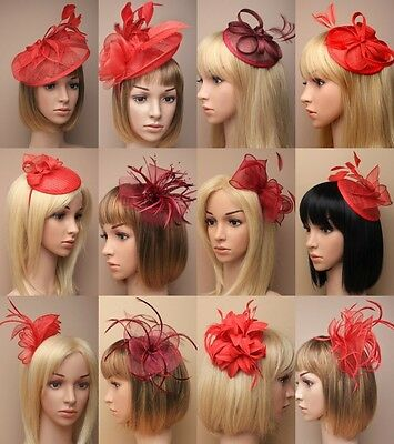 Red Fascinator Wedding Races Ascot Prom Occasion Hat Burgundy ,wine Wholesale