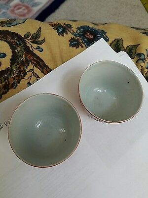 Chinese antique  2 tea cups painted iron red & more