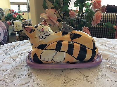 Candace Reiter Catzilla Butter Dish Cat Mouse Fish