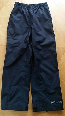 Euc Columbia Black Waterproof Seam Sealed Omni Tech Rain Pants Youth Xxs 4 5