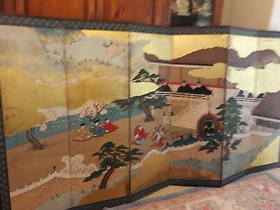 Japanese  antique screen  6 panals court scene edo.
