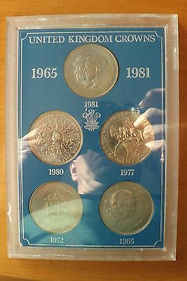 United Kingdom Crowns Coins 5 Crown Complete Set 1965-1981 UNC Grade Cased.