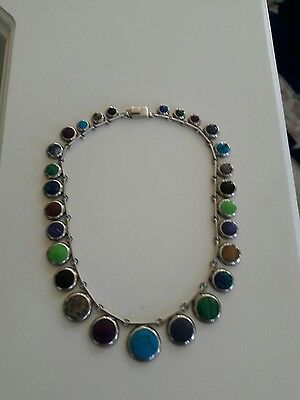 taxco Mexico sterling silver  Gemstones  necklace 27 stones