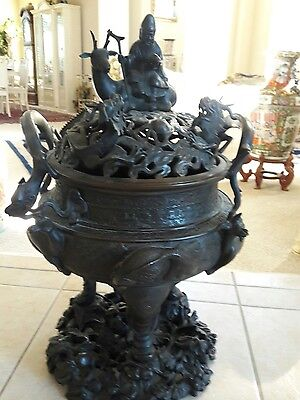 Chinese  antique 6 characters marked bronze big size  incense burner