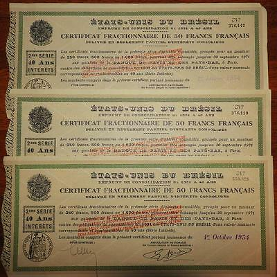 Lot of 3 Consolidation loan United states of brazil