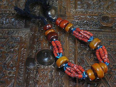 African jewelry Berber ethnic Necklace W/ glass & trade resin beads from Morocco
