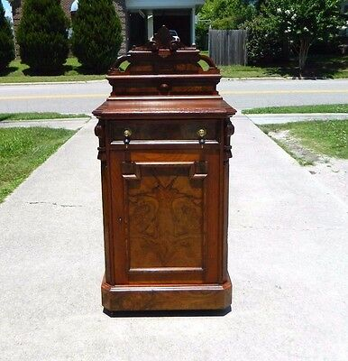 Walnut Victorian Music~Side Cabinet with Back-splash circa 1875