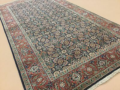 "4'.0"" X 7'.10"" Navy Rust Super Herati Persian Oriental Rug Wide Runner Handmade"