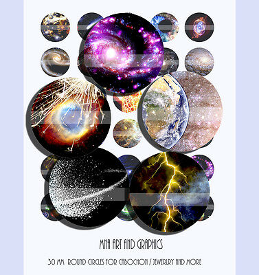 GALAXY Universe 30mm cabochon images, Universe and planets mix images 30mm