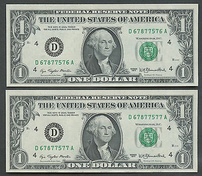 2 Consecutive 1977 $1 Dollar Cleveland Federal Reserve Notes Uncirculated 7576