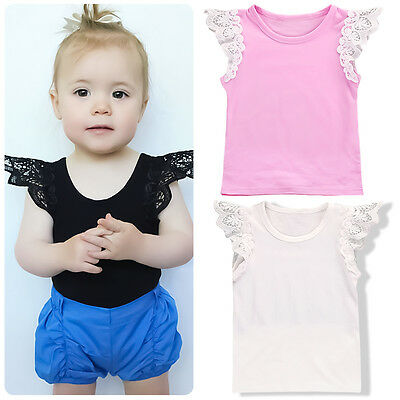 Toddler Baby Girl Summer Casual Lace T-shirt  Vest  Sleeveless Tank Top Tee
