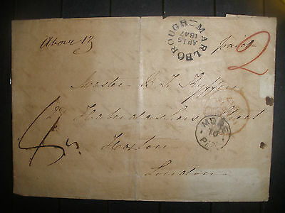 """1847 England Marlborough To London Hand Stamp """"paid"""" & """"2""""  Letter  Cover"""