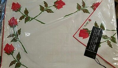 "VERA NEUMANN RED ""ROSEBUDS"" 8pc SET NAPKINS PLACEMAT Style 8530- Orig. Package"